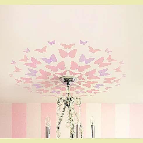 butterfly stencilDecor, Ideas, Butterflies Medallions, Butterflies Stencils, Girls Room, Cutting Edge Stencils, Butterflies Ceilings, Girl Rooms, Stencils Butterflies