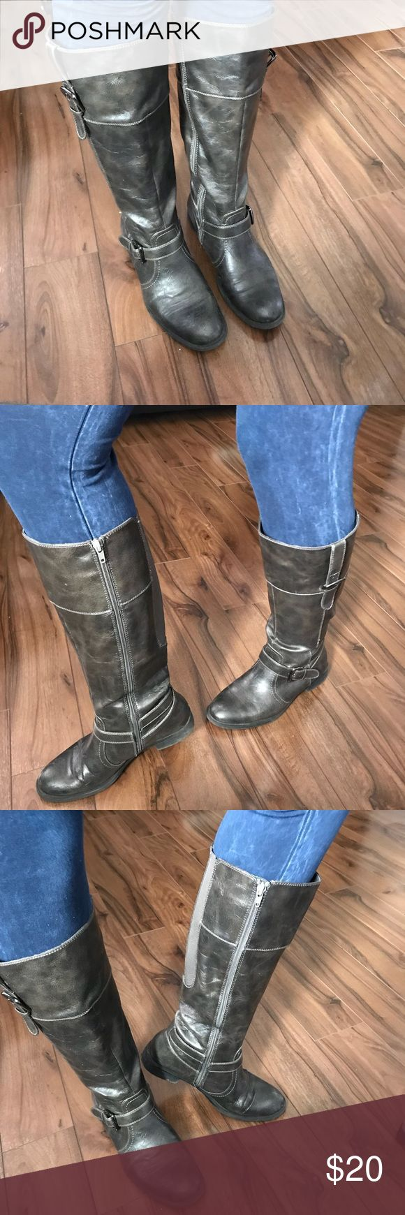 Very nice brown / black boots These boots are use with lots of life left in them. Relativity Re morena size 10 med.  Man made materials. Elastic in the back around the calf. In different lighting they almost look like a Charco black. 1 inch heal Relativity Shoes Heeled Boots