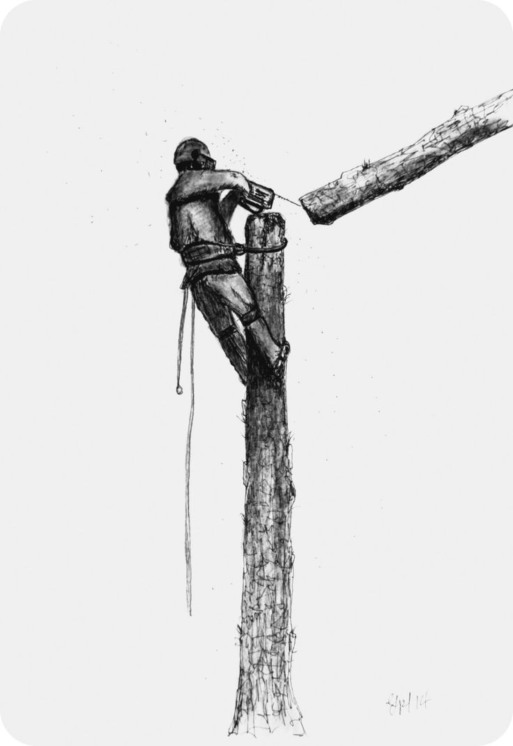 A4 BW print Arborist ,Tree Surgeon using stihl 020T chainsaw,husqvarna,art painting by JapaneseKoiPainting on Etsy