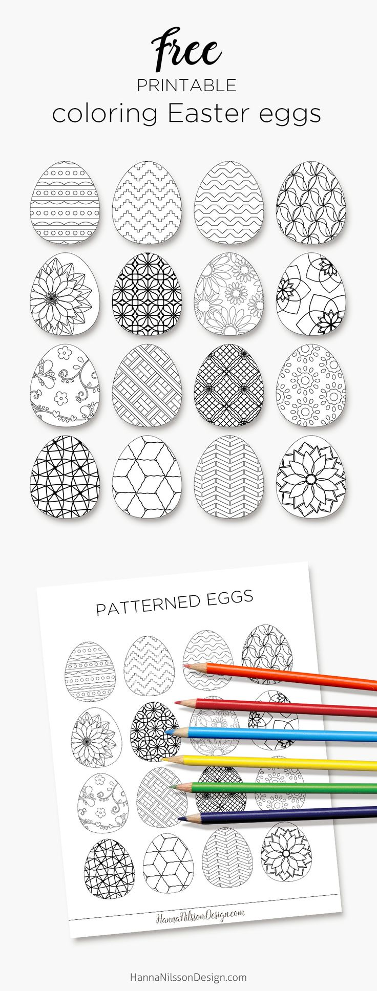 Coloring Easter eggs to decorate with for the Easter weekend - print, color, cut out and hang as decoration. Last minute Easter craft.