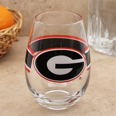 Georgia Bulldogs Striped 20oz. Glass