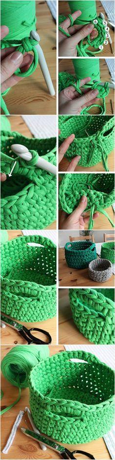 DIY tutorial: Crochet a T-Shirt Yarn Basket via DaWanda.com
