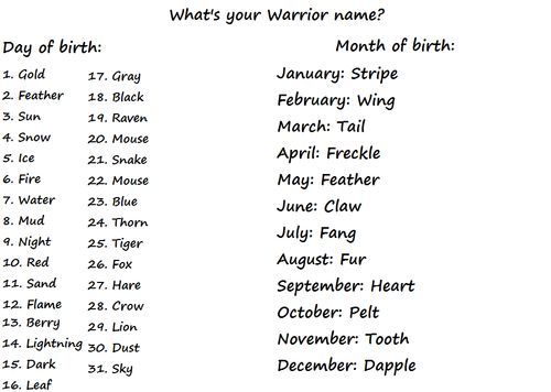 Warrior Cats Name Maker