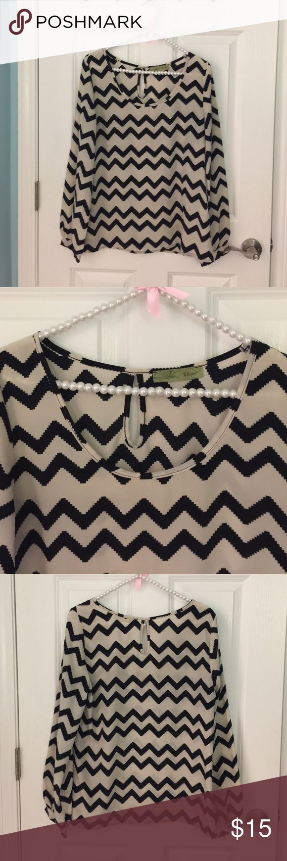 Size M chevron shirt No size tag but it fits like a medium. Only worn twice. Great condition. From Francesca's. Super cute!! Francesca's Collections Tops Blouses