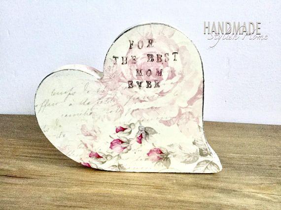 shabby chic handmade wooden heart decor for mom gift for mom