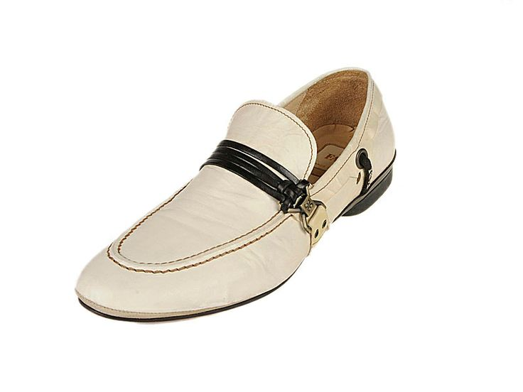 1623 Fabi Shoes - White Italian #Handmade #Leather #Loafer #Shoes featuring a handsome but casual strap and buckle with quality stitching.  $190 on sale now http://www.rinastore.com/1623-fabi-shoes-white/dp/2066  Made in #Italy, Available at Rina's Boutique