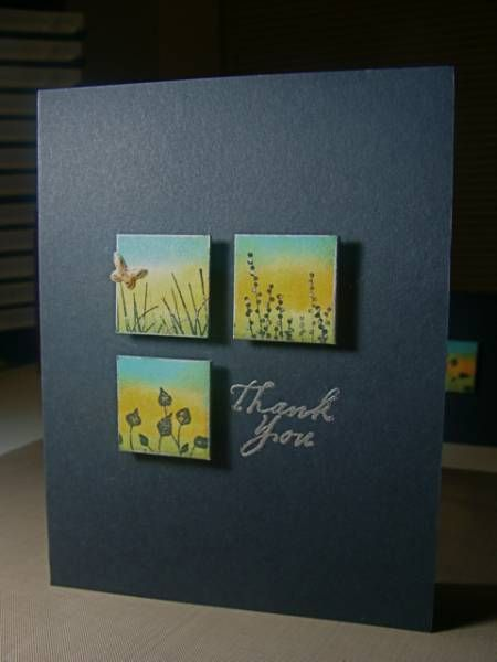 luv this clean and simple card design with a four square made of three inchies raised on tape and the spot of the fourth inchie stamped with a sentiment...