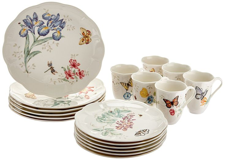 "Lenox Butterfly Meadow  Made of chip-safe Lenox white porcelain  Cooler to-broiler to-table, microwave and dishwasher safe  Florals and butterflies in choice hues enhance each scalloped piece  Distance across of supper plate: 10 3/4"", serving of mixed greens plate: 9"", limit of mug: 12 oz.. Administration for 6 incorporates 6 supper plates, 6 highlight serving of mixed greens plates and 6 mugs that all blend and match, giftboxed  You can look here and buy."