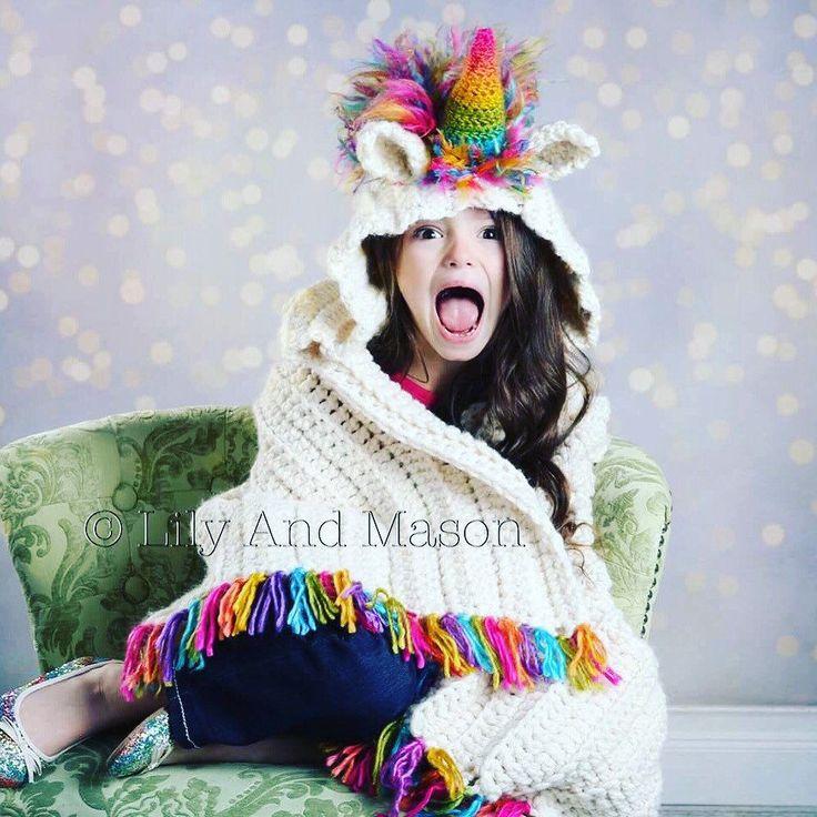 CROCHET PATTERN-unicorn blanket, hooded blanket, hooded crochet blanket, crochet blanket, crochet unicorn, rainbow unicorn blanket by LilyandMasonboutique on Etsy https://www.etsy.com/listing/503021218/crochet-pattern-unicorn-blanket-hooded