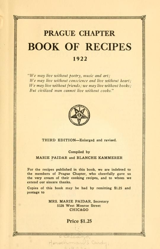 Prague chapter book of recipes, 1922 ..