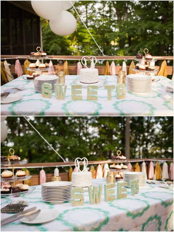 A fun, rustic yet elegant dessert table! :)  Sweets Table by Anna Clark as seen on Hill City Bride