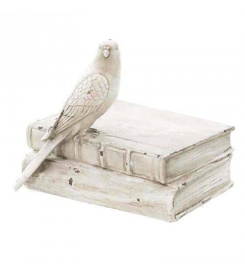 POLYRESIN BOOK_BOX 'PARROT' IN CREME COLOR 18X15X15
