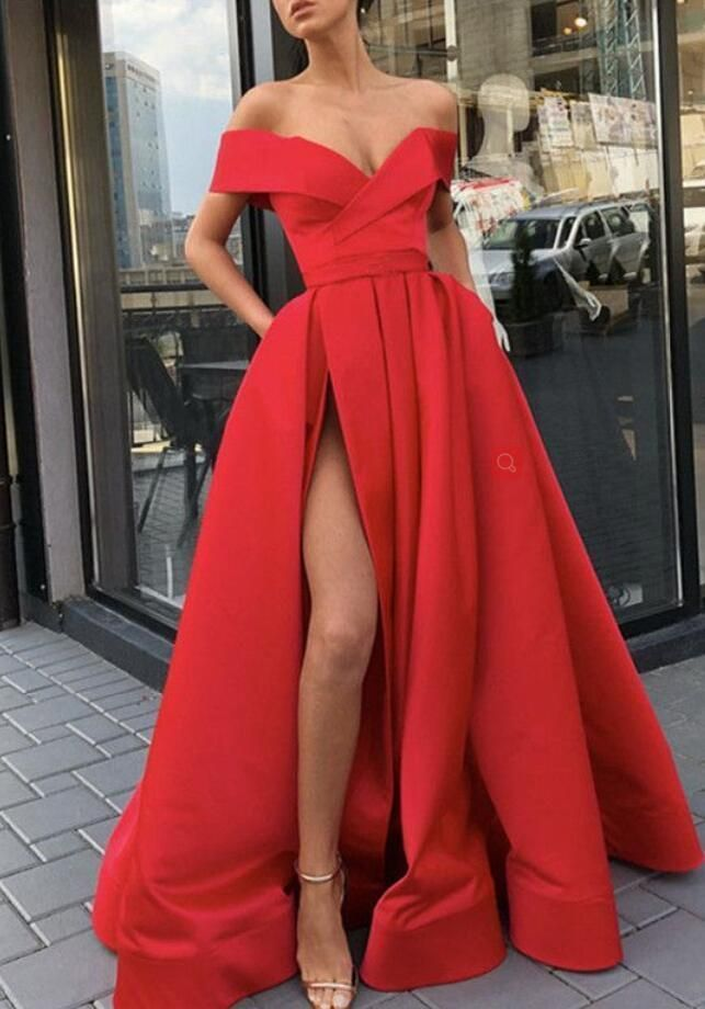 9dba7f14aca Princess Off The Shoulder Red Prom Dress A Line Formal Evening Gown With High  Slit