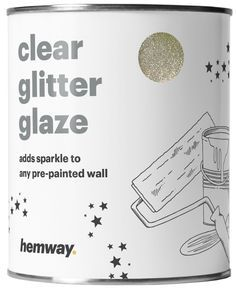 Hemway 1L Clear Glitter Paint Glaze for Pre-Painted Walls (Sand Gold Glitter) - Acrylic, Latex, Emulsion, Ceiling, Wood, Varnish, Dead flat, Matte, Soft Sheen or Silk (CHOICE OF 25 GLITTER COLOURS)