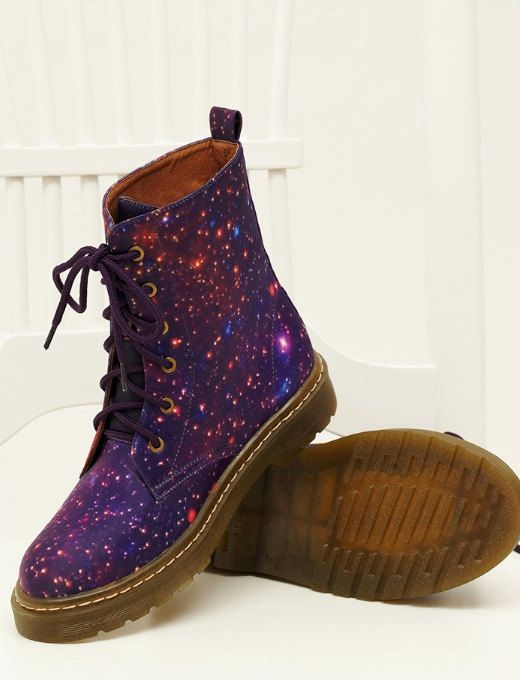 galaxy cosmic printed dr. marten style boot: omg my mouth literally (yes, literally!!) dropped open when i saw these, they'd be perfect as Doctor Who themed Doc Martens :D