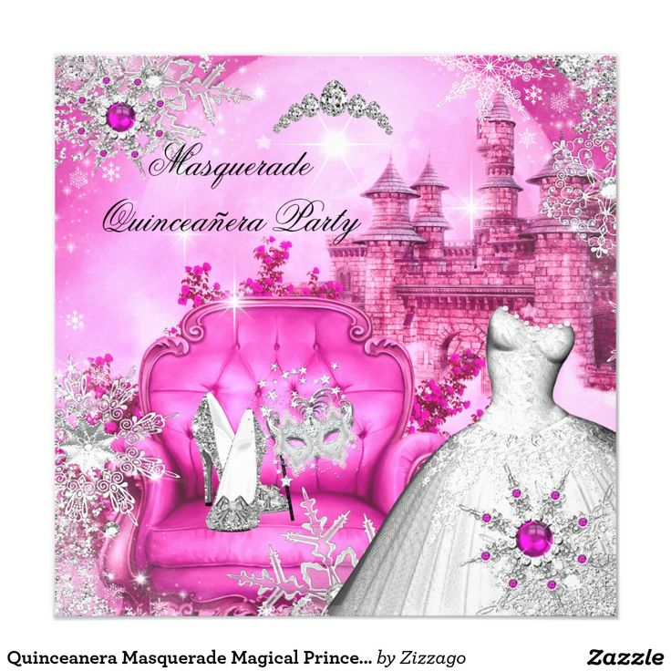 586 best quinceanera invitations images on pinterest texts quinceanera masquerade magical princess hot pink card stopboris Images