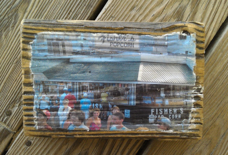 Color photo of Fishers Popcorn on the Boardwalk in Ocean City, MD transferred onto reclaimed Ocean City boardwalk wood. $20.00, via Etsy.