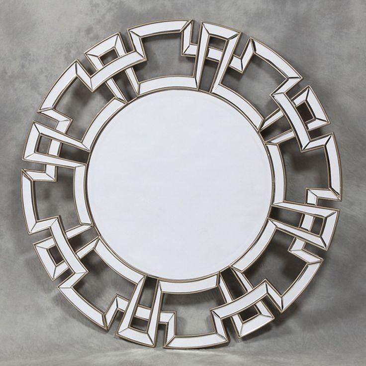 Aztec design champagne round mirror. As seen on Cowboy Builders & Bodge Jobs.