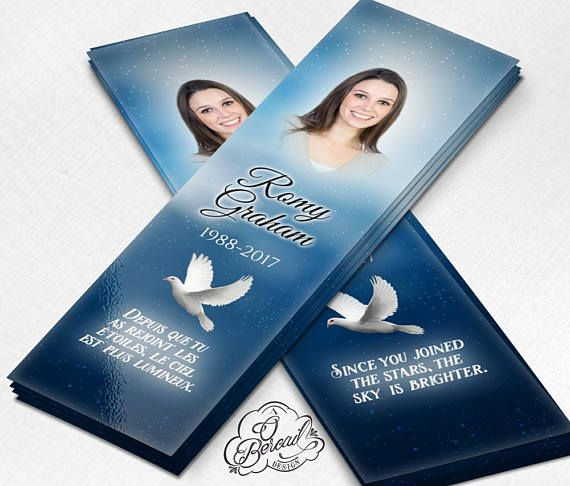 Celebration of Life Bookmark with Starry Sky and Dove • Memorial Bookmarks Keepsakes • Funeral Bookmark Online • Bookmarks for Obituaries