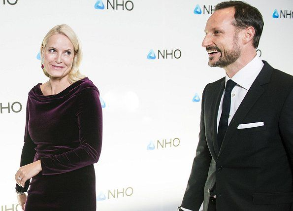 Crown Prince Haakon and Crown Princess Mette Marit of Norway attended the NHO Annual Conference dinner held at the Oslo spektrum in Oslo, Norway.