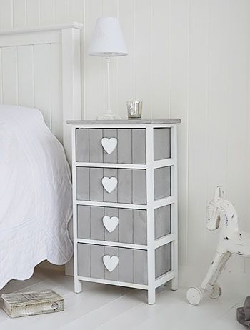 Grey and white Heart Cottage furniture for bedside table. Shabby chic, Scandinavian, New England and French bedroom furniture from The White Lighthouse