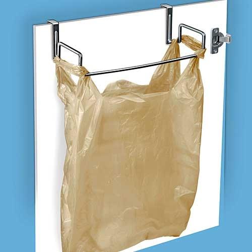 Cabinet door trash bag holder.