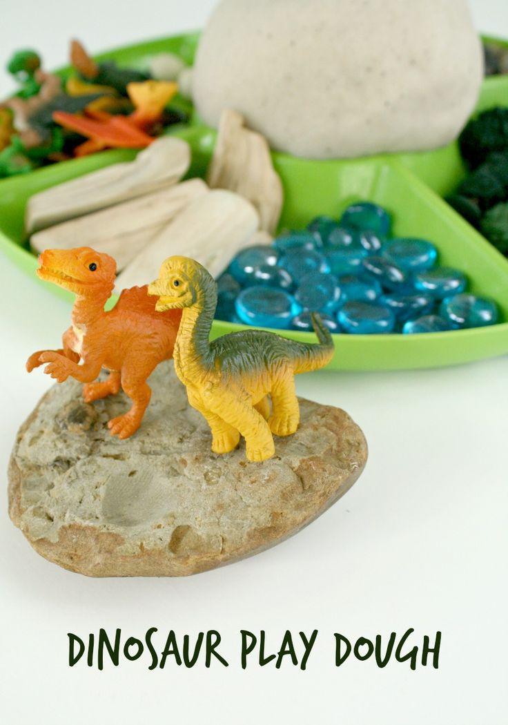 Dinosaur Play Dough Invitation and sand play dough recipe