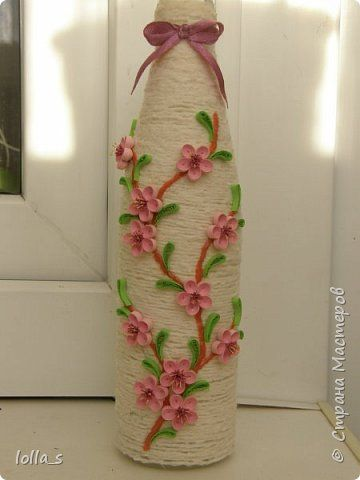 Decor items March 8 Mother's Day birthday wedding Quilling bottle with Sakura Paper band glass bottles Photo Threads 1