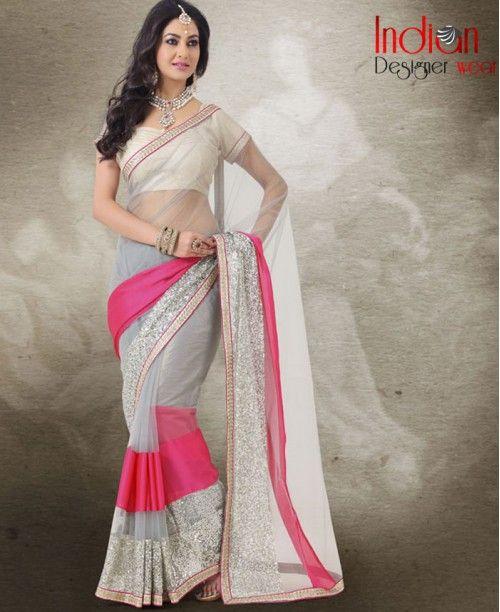 Pretty Pink & Grey Saree