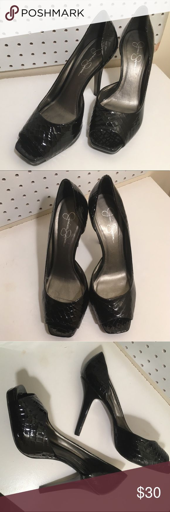 jessica simpson snakeskin heels These black, shiny, snakeskin heels are perfect! In great condition. One little scratch (see pictures). Jessica Simpson Shoes Heels