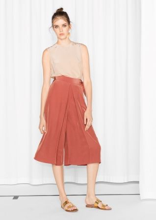 & Other Stories image 1 of Tie Waist Culottes in Salmon