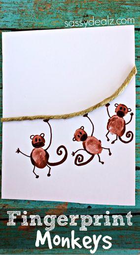 "Fingerprint Monkey Card Idea ""I Love Hangin' With You"" - Sassy Dealz  #fathersday #kidscraft"