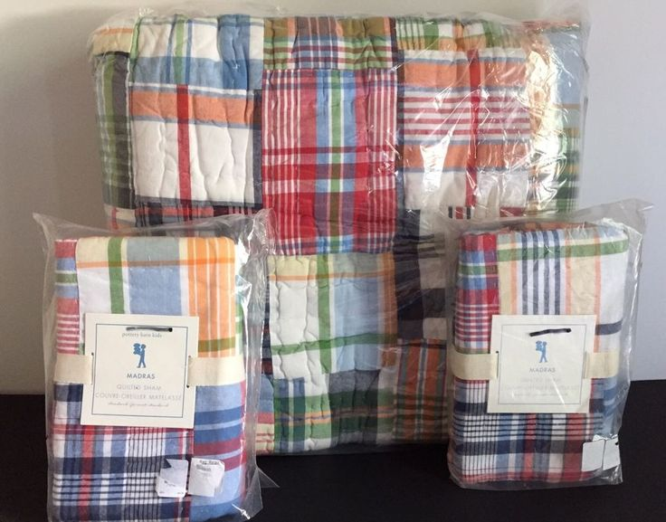 POTTERY BARN KIDS MADRAS PATCHWORK FULL/QUEEN QUILT + 2 STD SHAMS NEW NAVY RED  | eBay