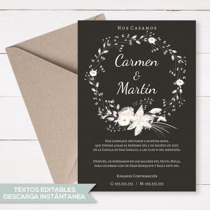 Invitación Boda Editable Invitaciones De Boda