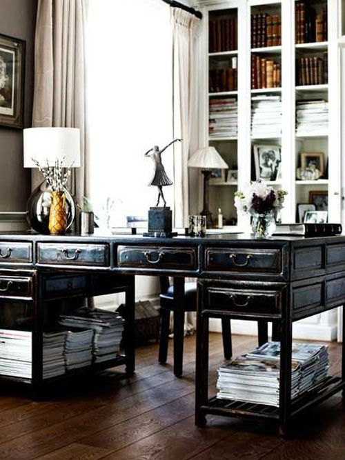 I want a giant antique desk like this, with plenty of space for stacking magazines and bunches of drawers!