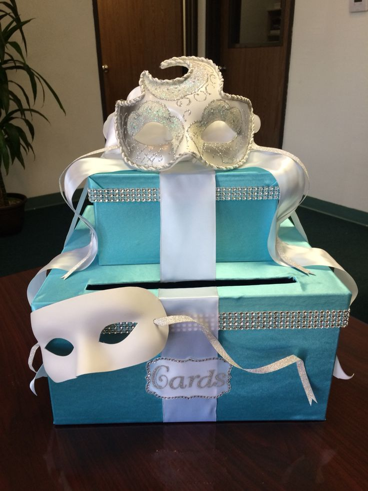 just a little card box I made for a Tiffany blue inspired masquerade sweet 16