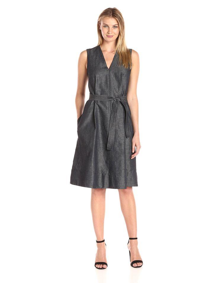 Ellen Tracy Women's Petite Belted Fold Dress, Indigo Denim/Face, 16P