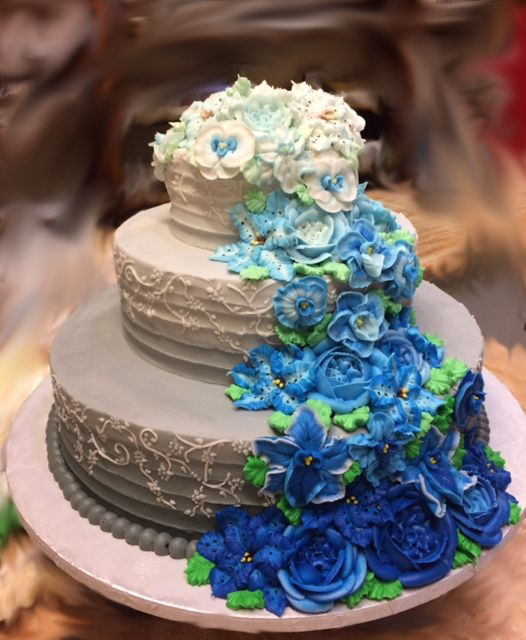 Gray Fading Into White Wedding Cake With Cascading Blue Flowers Westhampton Pastry Shop Richmond VA