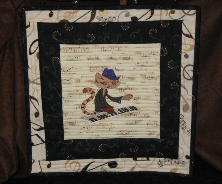 Jazz Cat at the Piano Embroidered Quilt Block AND Hand Crafted Stand; Table Display