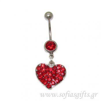 Piercing Κοιλιάς καρδιά κόκκινη με στρας - body piercing