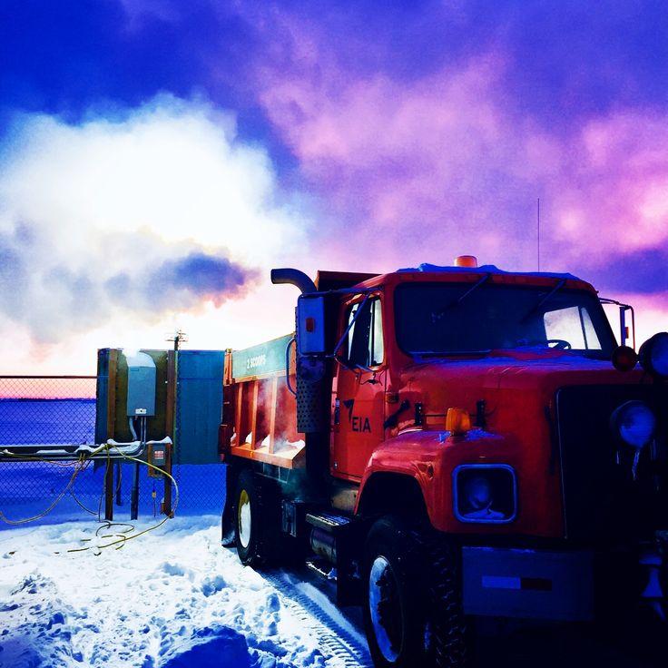 Frozen plow truck. Picture taken by Kelly Liebe.