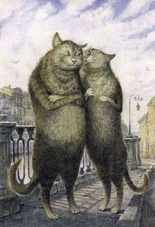 Painting cats Vladimir Rumyantsev. Love is