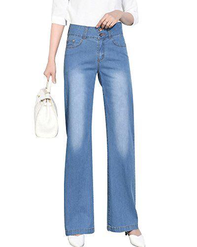 3b6c7485d0618 ShiFan Jean Droit Femme Elastique Taille Haute Pantalon Bootcut Large Jambe  Bleu 29