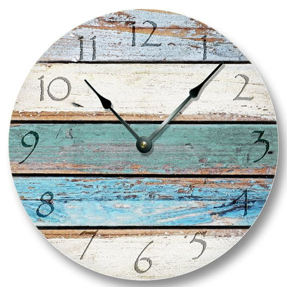 This quality wall clock was designed for shabby beach decor.  Custom printed OPEN FACE CLOCK does not need a frame or cover. It is a rigid clock base with a printed clock face. The quartz clock movement is mounted on the back. There is a built-in hanger on the back of the clock movement. Just beautiful in its simplicity. It is handcrafted and all parts including the quartz clock movement are made in the USA. CLOCK DETAILS: - Large 10 1/2 Open face means no cover or frame. - 1/8 thick hard…