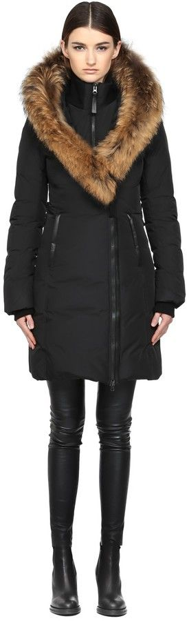 Kay-F5 Long Black Winter Down Coat With Fur Hood