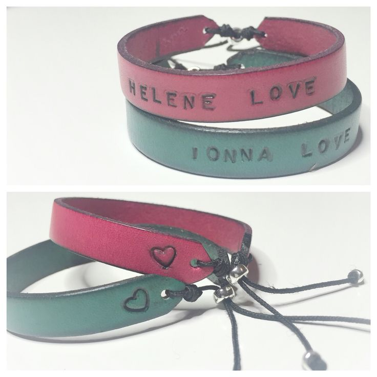 Handstamped leather bracelets kids