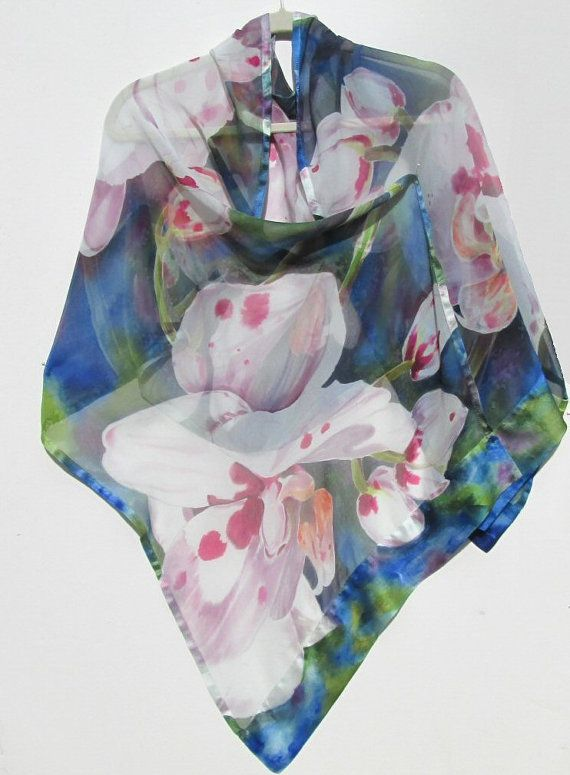 WHITE ORCHIDS Silk Wrap Hand Painted Exotic Tropical Floral