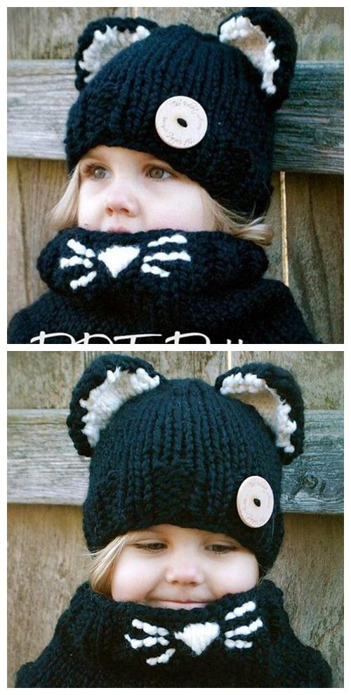 Cat Ear Shape Embellished Knitted Beanie and Scarf For Cute kids #Kids and parenting#winter#