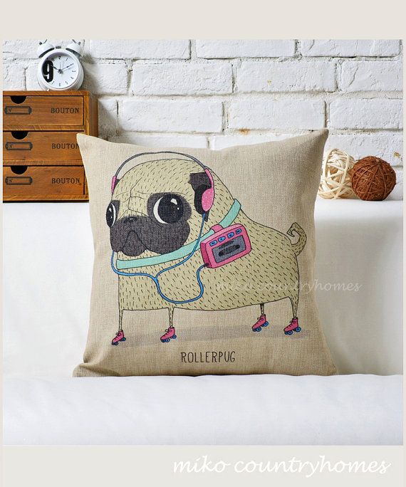 "$14.00 | Pug Inspired Series | Linen Throw Pillow Cover | Decorative Home Décor | 45x45cm 18""x18"" #pug #homedecor #pillowcover"