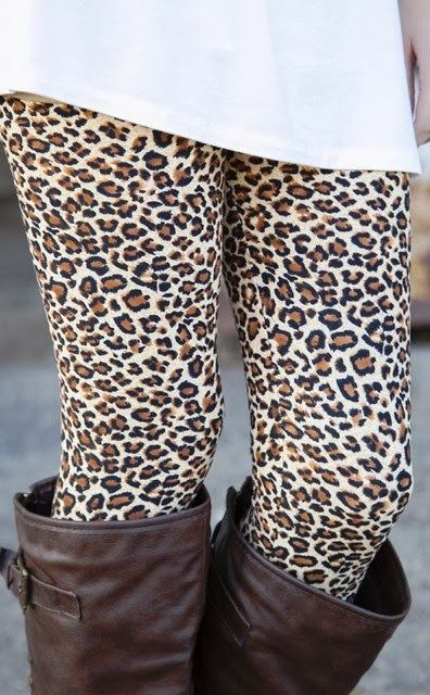 leopard print leggings. brown boots. white long tee. Today's inspired outfit. BV